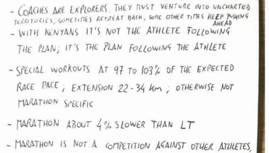 Zomaar wat notities van een topmarathon trainer