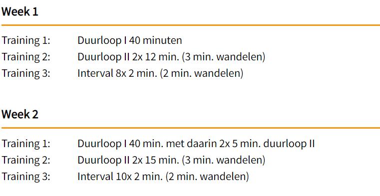 Voorbeeld hardloopschema 10 km