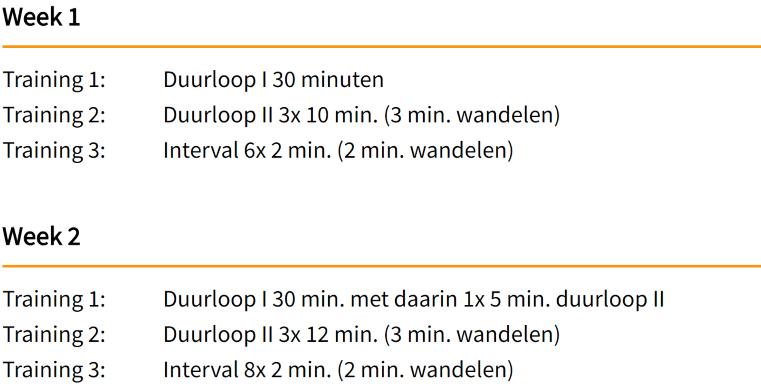 Voorbeeld hardloopschema 5 km