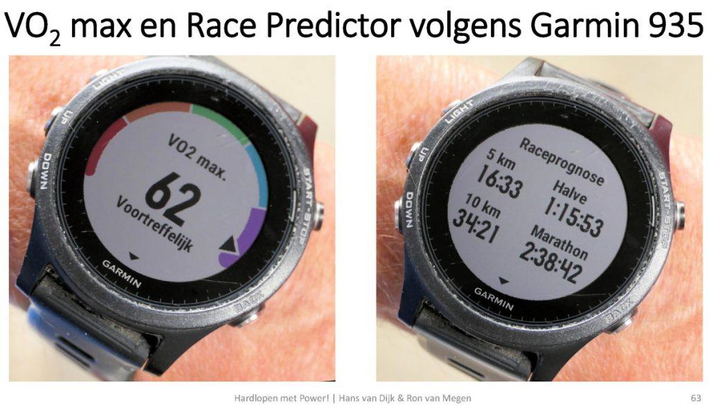 Een voorbeeld van de (te snelle) tijden van de Race Predictor van Garmin