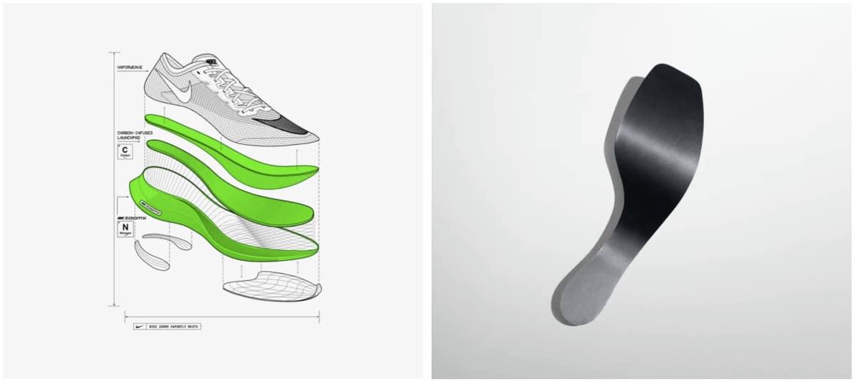 Exploded view van de Nike ZoomX Vaporfly Next% met de als een veer werkende koolstofvezelplaat (bron Nike).
