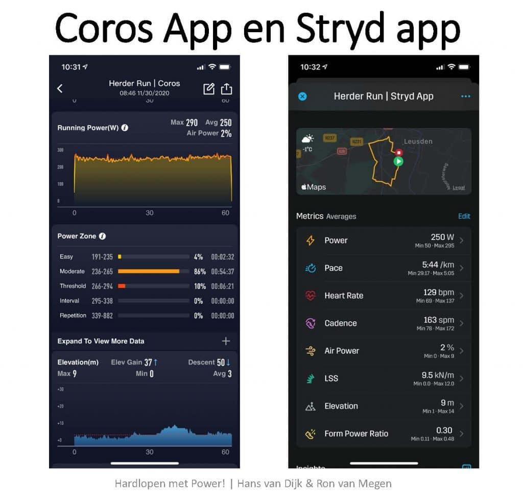 Screenprints van (een deel van) de informatie in respectievelijk de Coros app en Stryd app.