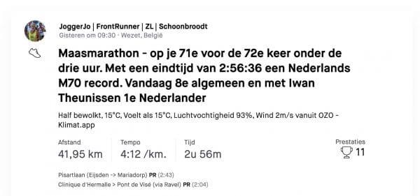 Jo Schoonbroodt: 71 jaar, 72ste marathon in 2:56:36